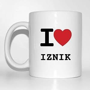 I love iZNIK tasse de café tasse mug-couleur :  blanc