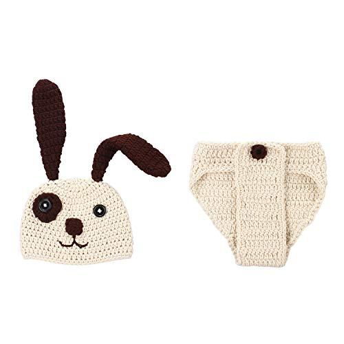 moinkerin Fotoshooting Strick Kleidung Neugeborene Hund Muster Baby Fotos Fotografie requisiten Kostüme Hut und Unterhose (Baby Hund Kostüm)