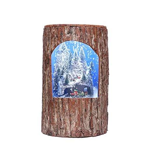 ZWYK Decoracion DecoracióN De Navidad Escena De Nieve áRbol Corteza Pila Bosque Serie DináMica De SimulacióN PequeñO Tren Antigua DecoracióN De MuñEco De Nieve Hombre