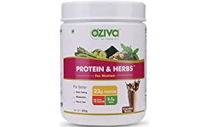 OZiva Protein & Herbs, Women, Whey Protein with Ayurvedic Herbs & Multivitamins ( Soy Free, Gluten Free), Chocolate, 16 Servings, 0g added Sugar