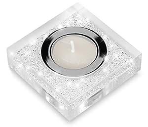 Edler Teelichthalter Lotus 1 mit SWAROVSKI ELEMENTS Kristallen – funkelnde Tischdeko