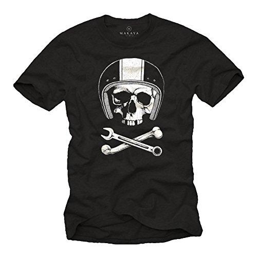 Tee Shirt Originaux Mécanicien Casque Moto avec Skull Noir Homme M