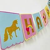 Magical Unicorn Rainbow fanions fête un cadeau Joyeux anniversaire Bannière avec Doré scintillant lettres