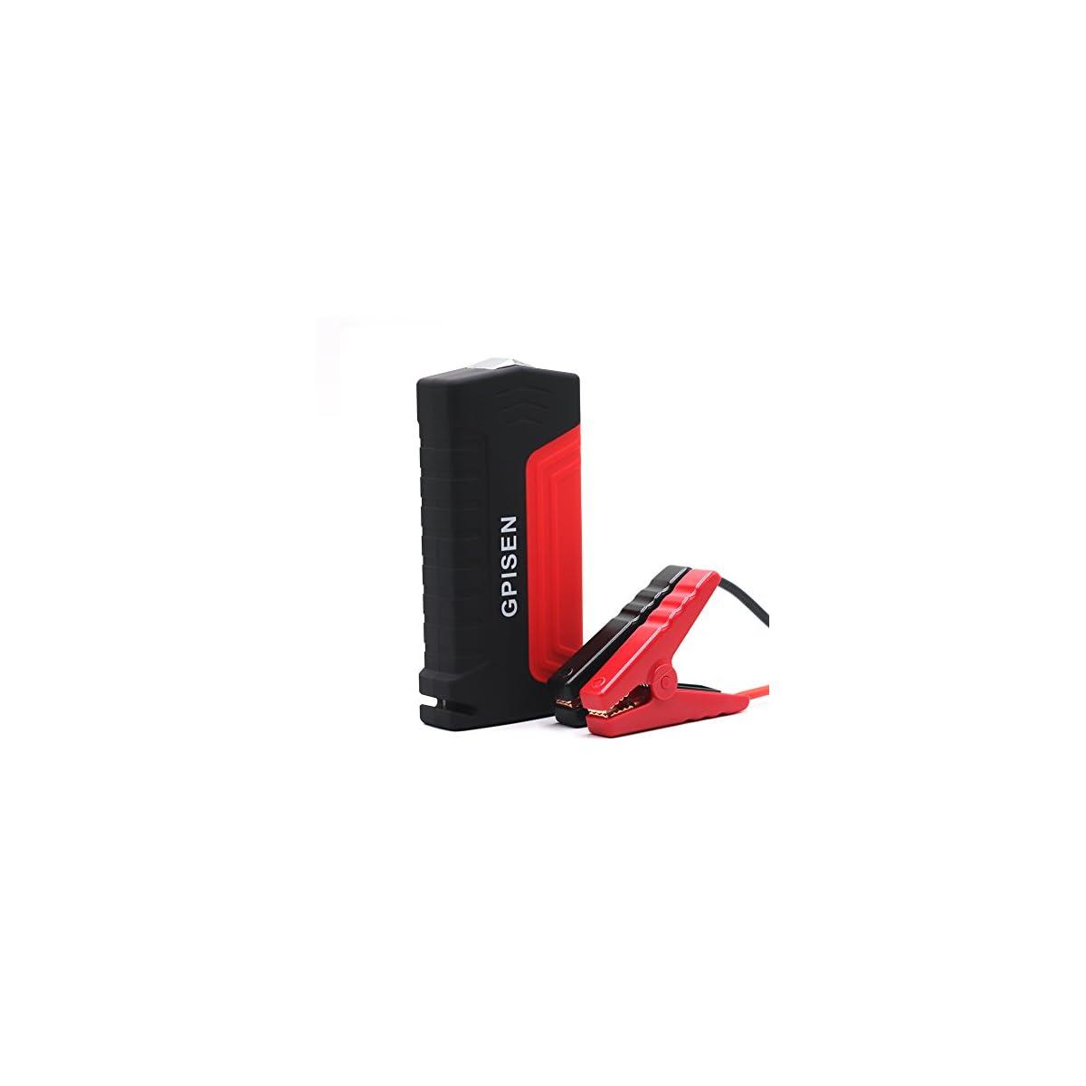 41jYTHF4 kL. SS1200  - GPISEN Jump Starter 13600mAh Batería Arranque Kit 600A Arrancador Pack Para Coche (Batería Externa Recargable, LED Flashlight, Multifunción, Con pinzas inteligentes)