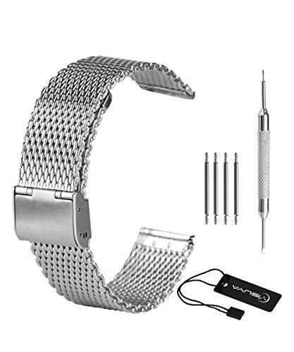 Yisuya Milanaise Mesh Uhrband, 22mm, Edelstahl, mit Hakenschnalle, massiv, poliertes Silber