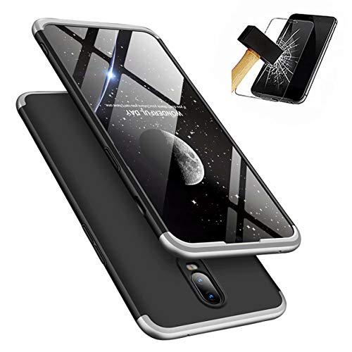 OnePlus 6T Handyhülle + Displayschutzfolie, LaiXin OnePlus 6T Hülle 360 Grad PC Plastik Hard Case Cover Fall-Abdeckung Schutzhülle mit Panzerglas - Silber/Schwarz