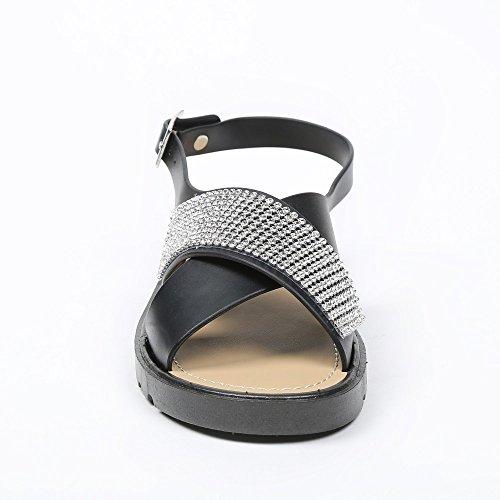 Ideal Shoes–Flache Sandale mit Gurten Promotions und Schmucksteinen Makarios Schwarz - Schwarz