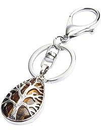 D DOLITY Llavero con Árbol de la Vida Encantos Colgante de Piedras Preciosas, Mejores Artes