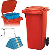 BRB 120 Liter Mülltonne rot mit Halter für Müllsäcke, inkl. 250 Müllsäcke