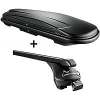Dachbox schwarz VDP JUXT 400 großer Dachkoffer 400 Liter abschließbar + Relingträger Dachgepäckträger Quick für aufliegende Reling im Set für VW Touran ab 2015 bis 100kg