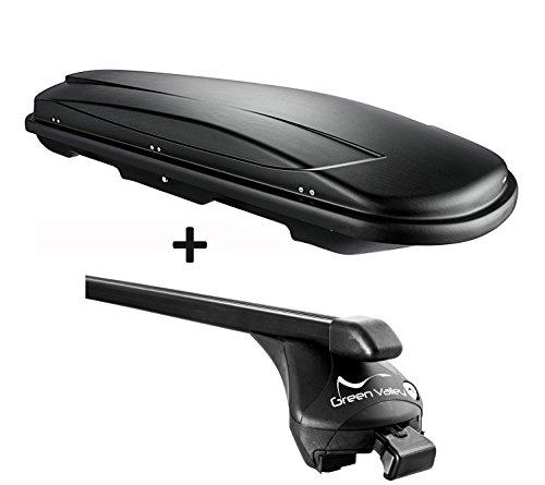 VDP Dachbox schwarz Juxt 500 großer Dachkoffer 500 Liter abschließbar + Relingträger Dachgepäckträger für aufliegende Reling im Set für BMW X3(F25) ab 2011 bis 100kg