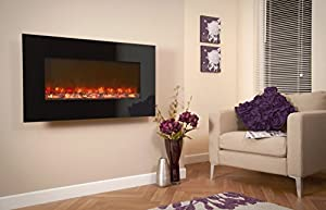 Celsi Electriflame Black Glass Wall Mounted Electric Fire