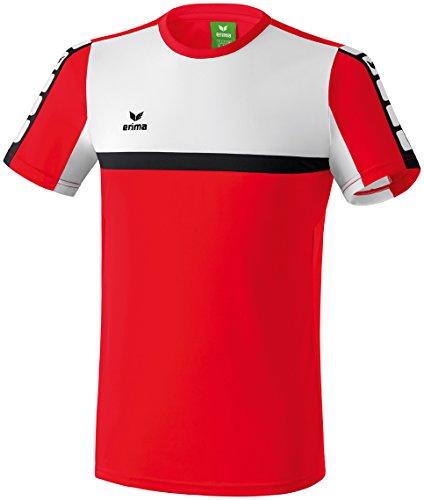 Rot Schwarz Shirt (erima Herren Classic 5-C T-shirt, rot/weiß/schwarz, M)