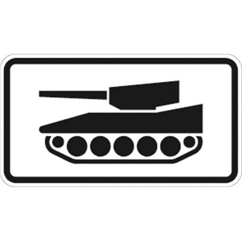 Verkehrszeichen VZ1049-12, Nur militärische Kettenfahrzeuge, Alu, RA2, 23,1x42cm Verkehrsschild
