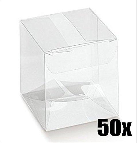 comprare on line 50 PZ Scatola pvc trasparente 8x8x8 cm portaconfetti per BOMBONIERA prezzo