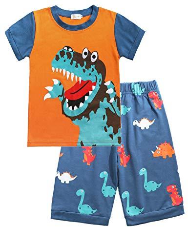 Dinosaurier-nachtwäsche (Little Hand Schlafanzug Jungen Dinosaurier Bagger Feuerwehrauto Krake Kinder Sommer Zweiteiliger Baumwolle Kurz Nachtwäsche, Dinosaurier, 98 (HerstellerGröße: 100))