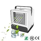 Mini Air Verdunstungsgerät Lufterfrischer mobiler Luftkühler mit USB Anschluß, Mobile Klimaanlage mit Stimmungslicht, Air Cooler Klima Anlage, Tischventilator für Home Office Auto im Freien/Weiß