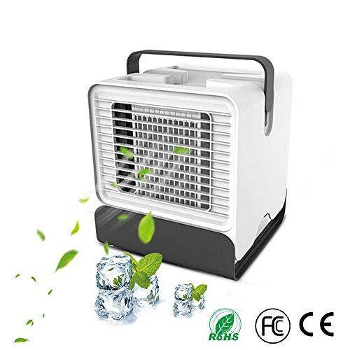 Mini Air Verdunstungsgerät Lufterfrischer mobiler Luftkühler mit USB Anschluß, Mobile Klimaanlage mit Stimmungslicht, Air Cooler Klima Anlage, Tischventilator für Home Office Auto im Freien/Weiß - Home-air