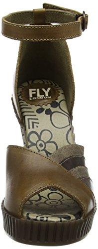 Fly London Gami906fly, Scarpe Col Tacco con Cinturino a T Donna Marrone (camel/dk. Brown/grey 002)