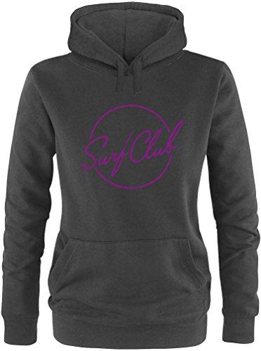 EZYshirt® Surfclub Damen Hoodie Schwarz/Violett