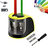 Pencil Sharpener,Upeffeet Convent Electric Automatic Pencil Sharpener 2 Diameters Holes Coal Coloured Pencils for Drawing 2-Way Powered For Classroom Office Outdoor Paint Sketching