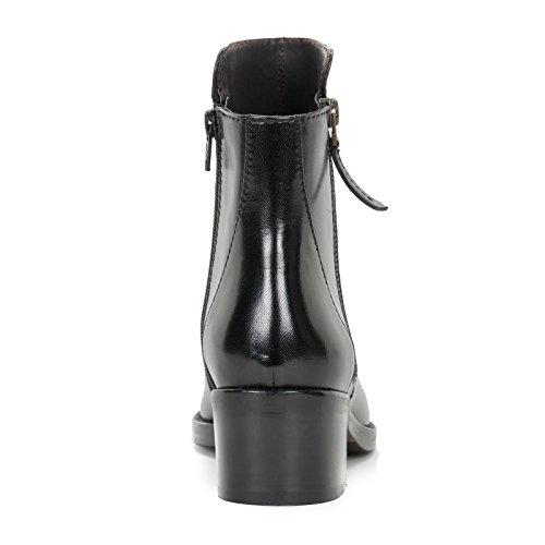 ALESYA by Scarpe&Scarpe - Bottines basses avec fermeture éclair latérale, en Cuir, à Talons 5 cm Noir