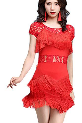Frauen Kostüm Zeitgenössischer Tanz - GOWE Damen Lyrischen Zeitgenössischen Latin Dance Kleid - Spitzen Quaste Mode Sexy Salsa Rumba Tango Performance Kostüm, Rot/2XL
