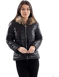 D76 Celebmodelook Mujer PU PVC Aspecto Charol Acolchado Piel Abrigo con Capucha Chaqueta Manga Larga