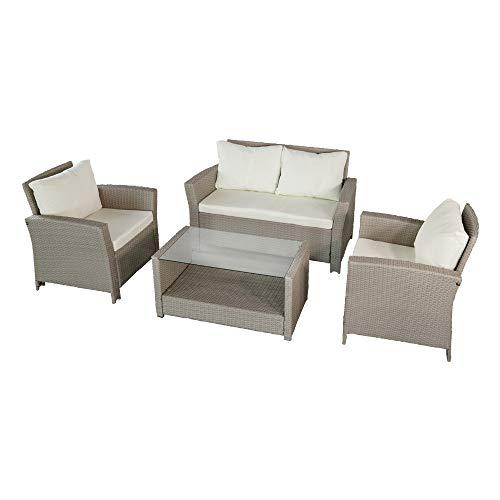 Aktive 61012 - set di mobili da giardino in rattan sintetico colore beige: divano a due posti (130x68x76) + 2 poltrone (75x68x76) + tavolo (90x50x44)