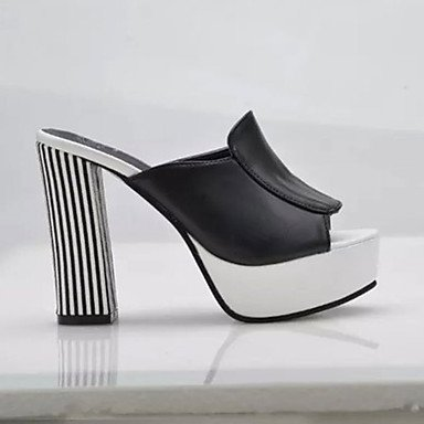 LFNLYX donna tacchi Primavera Estate altri PU Office & Carriera Casual Chunky Heel altri bianco nero argento White