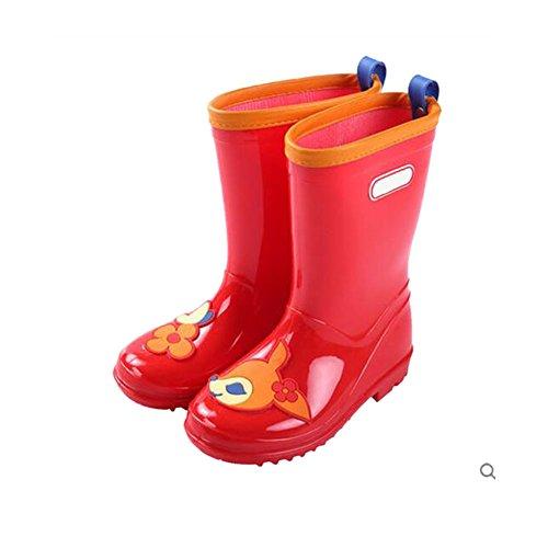 Meijunter Garçons filles Kid's Antidérapant Rainboots Bottes de pluie Enfants Caoutchouc Imperméable Snow Rain Shoes Chaussures nautiques red