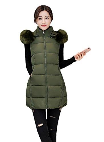 Smile YKK Manteau Femme Hiver Sans Manche Gilet Mi-long Veste à Capuche Automne Amincissant Vert