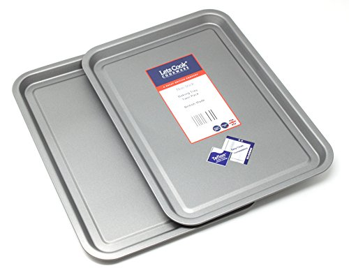 Baking Tray Twin Pack, British Made with Teflon Non Stick by Lets Cook Cookware