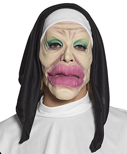 shoperama Latex-Maske Nonne Holy Lips Dicke Lippe Haube Halloween Horror Kirche Religion Kostüm-Zubehör