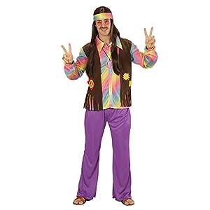 WIDMANN Disfraz 73344?Adultos Hippie Hombre, Camiseta, Chaleco angenähte, Pantalones y Cinta, Lila, tamaño XL
