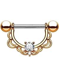 Paula & Fritz® pezón Piercing de acero inoxidable acero quirúrgico 316L dorados, Roségold con filigrana arco [grosor: 1.2mm; 1.6mm] con circonitas