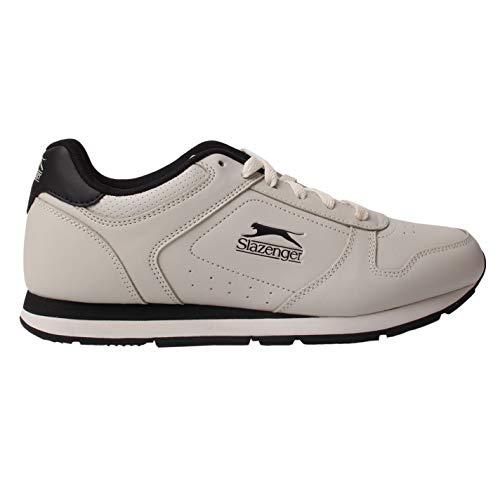Slazenger Classic Herren Turnschuhe Leder Sneaker Sport Schuhe Schnuerschuhe Grau/Schwarz 9.5 (43.5)