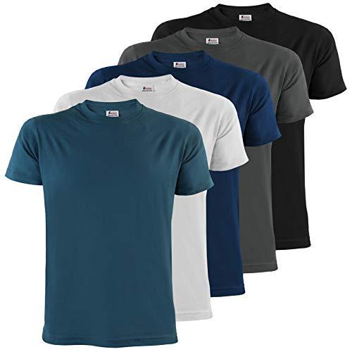 ALPIDEX Herren T-Shirts mit Rundhalsausschnitt einfarbig im 5er Set Größe S M L XL XXL 3XL 4XL - Water, Größe L