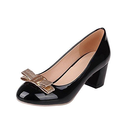Mee Shoes Damen süß dicker Absatz Geschlossen mit Schleife runder toe Lackleder Pumps Schwarz