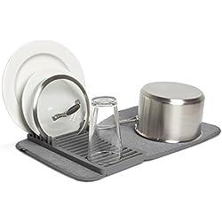 UMBRA Udry Mini. Petit égouttoir à vaisselle et tapis de séchage en microfibre - Léger, pliable et facile à ranger - dim 33x50.8cm, coloris anthracite