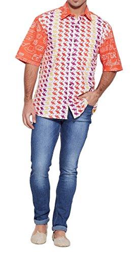 ShalinIndia hommes de plage en coton imprimé Shirt manches demi avant Pocket Multi_121