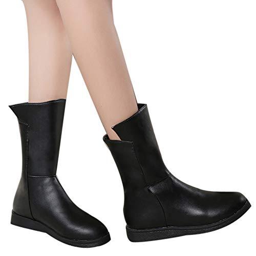 Hffan Damen Schuhe Runde Zehe Flach Schuhe Leder Stiefel PU-Leder Kurze Stiefel Damenstiefel...