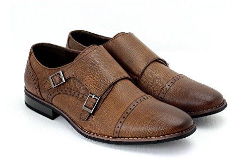 Hommes Décontracté Habillé Double Boucle Moine Lanière Chaussures De Travail Bureau Café