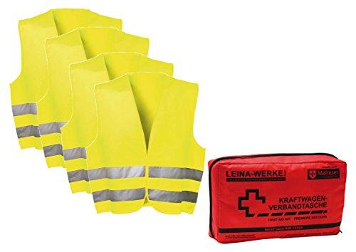 SECOTEC DIN 13164 Pannenset 5-Teilig; 4 Warnwesten Größe XL gelb; und 1x KFZ Verbandtasche; erste hilfe set auto