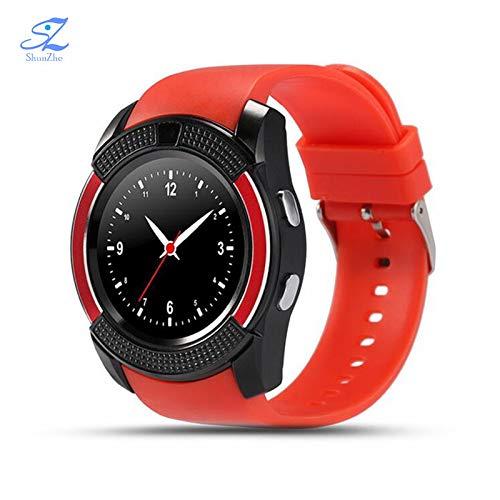 InterActive SmartWatch V8 - Bluetooth Uhr kompatibel mit Android iOS Windows intelligente Armbanduhr mit Sim & TF Slot 2018 Model Facebook WhatsApp Fitness und Schlaf Tracker vorinstalliert – deutsche Software & Service – Red Edition
