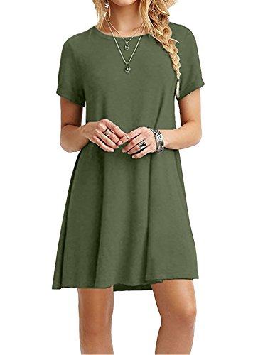 Trary Damen Sommerkleider Casual Rundhals Plain Kurzarm Lose Tunika Swing Basic T-shirt Kleid (Grünen Armee Dunkle T-shirt)