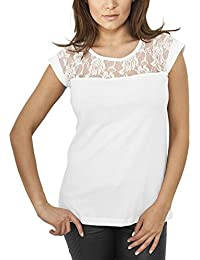 Urban Classics Damen Oberteil Ladies Top Laces Tee mit feiner Spitze