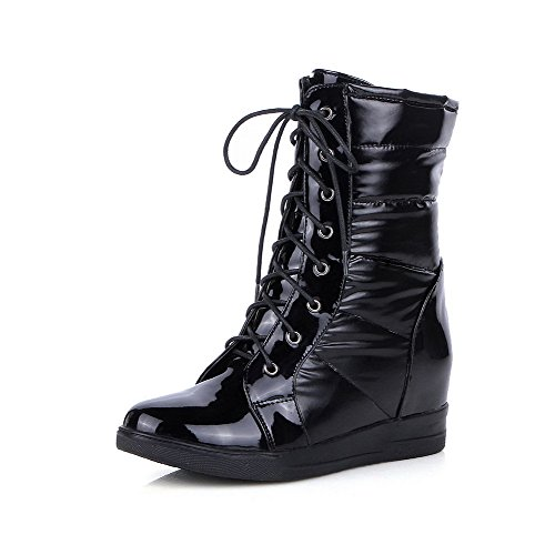 AllhqFashion Damen Rund Zehe Mittler Absatz Gemischte Farbe Stiefel mit Knoten, Schwarz, 36