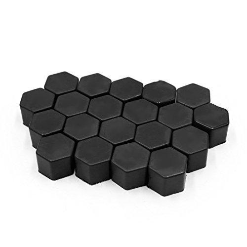 sourcingmap® 20pcs 21mm noir voiture écrou roue moyeu roue véhicule couvre poussière vis Protéger Caps