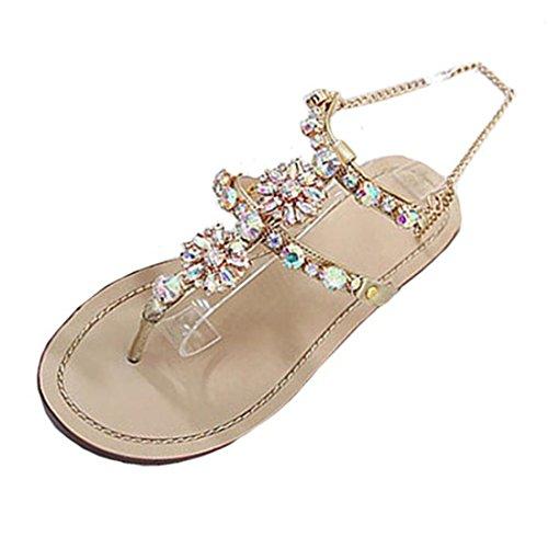 Sandalen,Sannysis Damen Sommer Flach Sandals Leuchtenden Strass Ketten Sandalen T-Riemen Bequeme Schuhe (40, Gold) (Schnalle Stiefel Wildleder Slouchy)